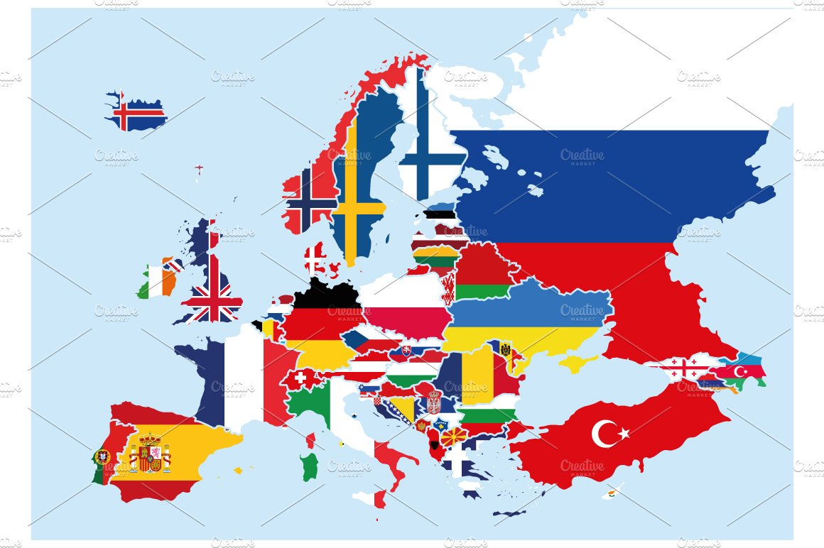 europe map with flags Flags Europe Map | Pre Designed Photoshop Graphics ~ Creative Market