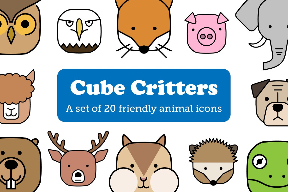 Cube Critters Cute Animal Icons