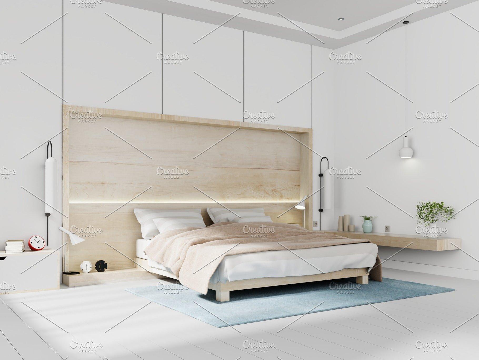 Modern white bedroom bright interior