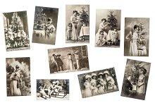 10 vintage postcards PNG + JPG