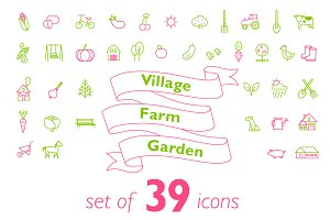 Village-farm-garden icons