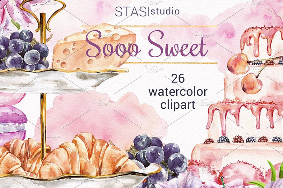 Watercolor Cake clipart Bakery