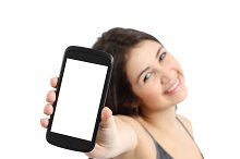 Happy promoter girl showing a blank smart phone screen.jpg