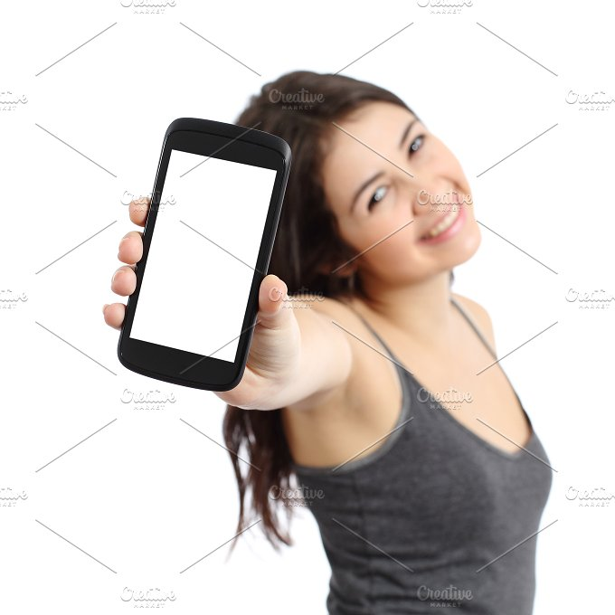 Happy promoter girl showing a blank smart phone screen.jpg - Technology