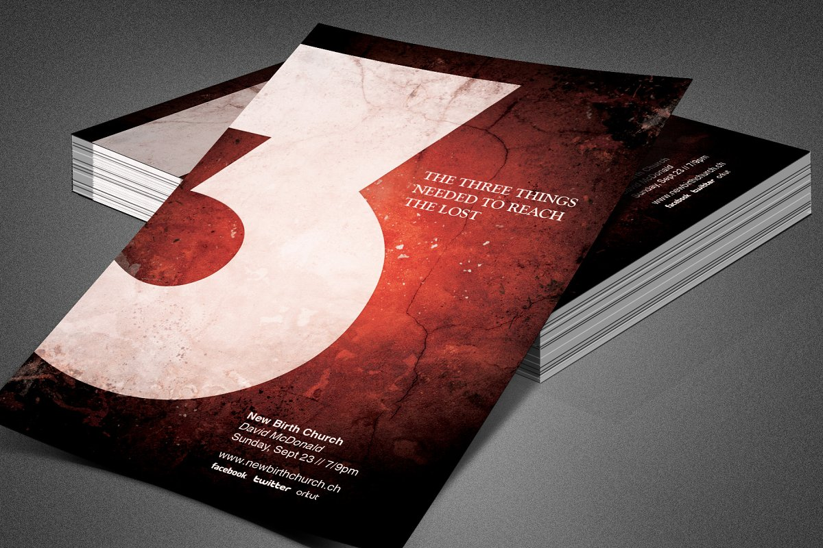 Three Things Church Flyer Template