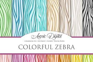 Colorful Zebra Digital Paper
