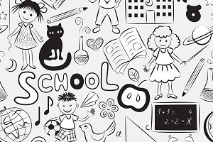2 seamless patterns of school theme