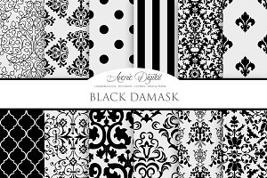 Black Damask Digita Paper