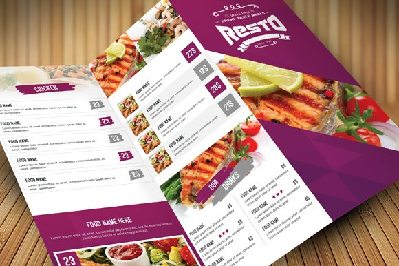 clean food menu brochure templates creative market