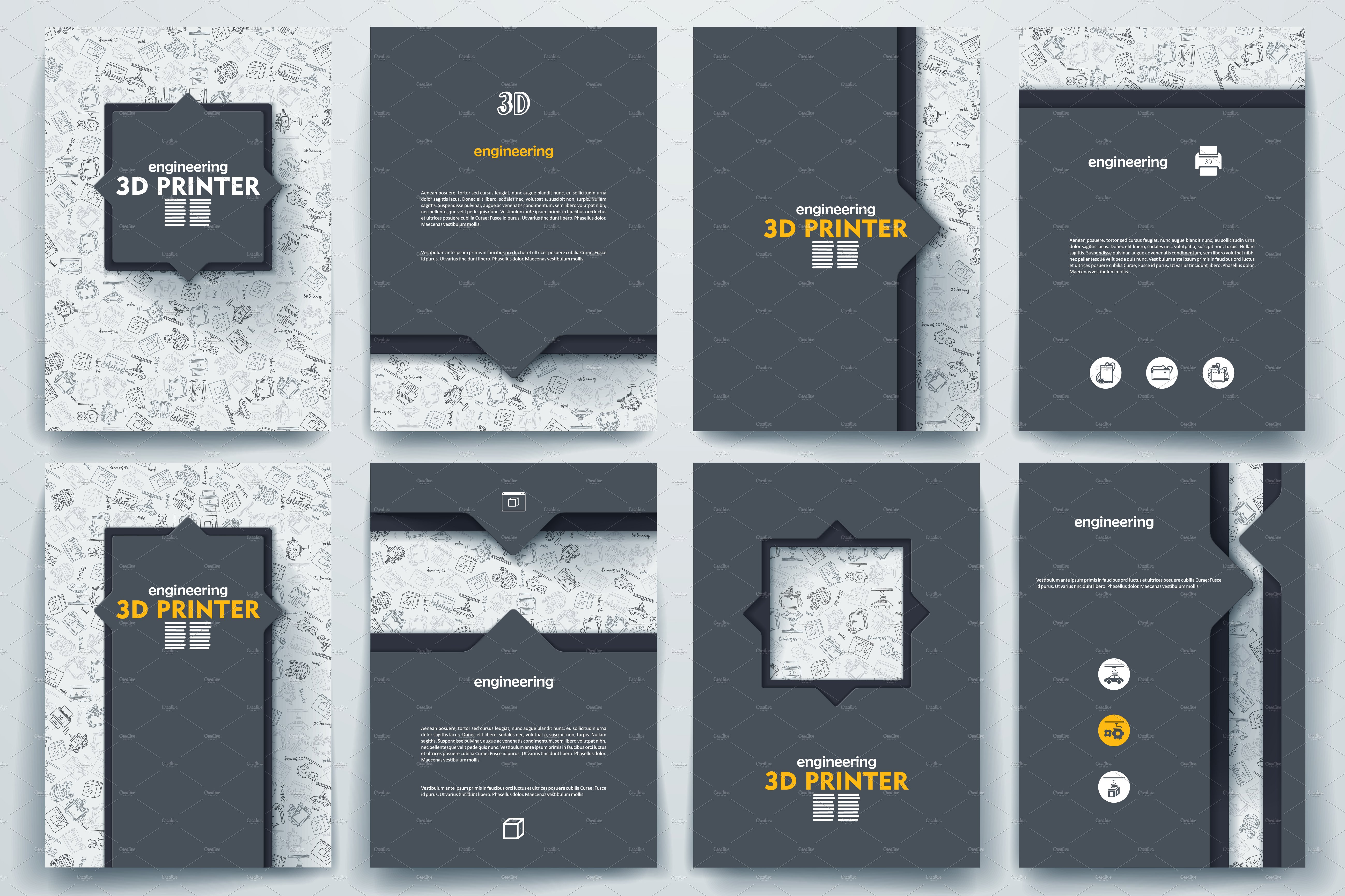 3d brochure design - brochure on 3d printer theme brochure templates