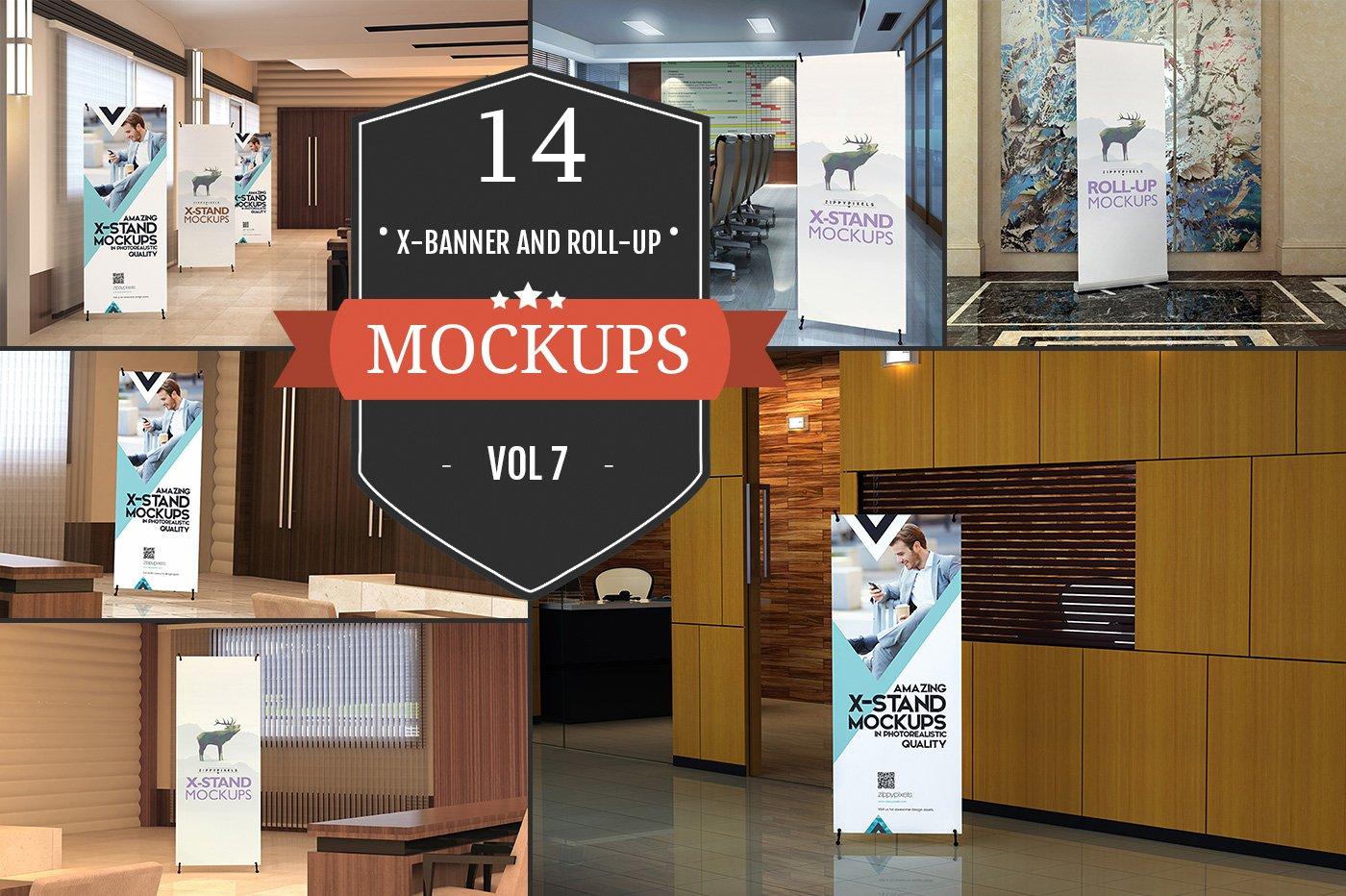 xstand rollup banner mockups vol 1 product mockups creative market