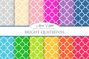 Bright Quatrefoil Digital Paper