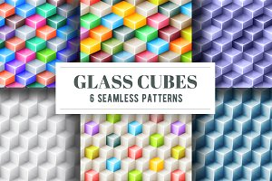 Glass cubes 6 seamless patterns