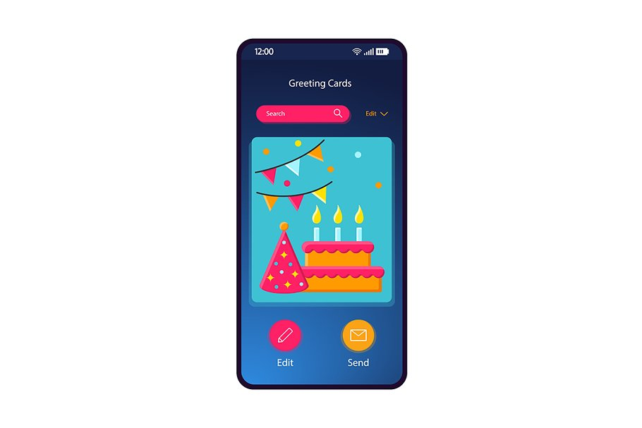 Greeting cards gallery interface