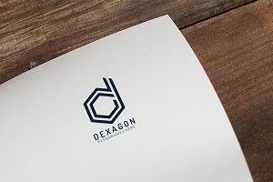 D Letter Hexagon Logo