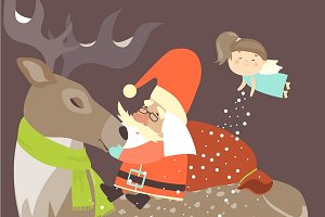 Santa Claus sitting on reindeer