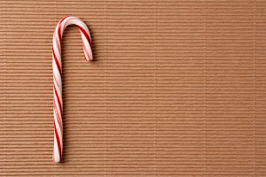 Candy Cane on Cardboard