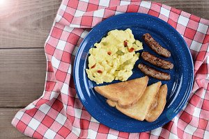 Scrambled Eggs With Peppers Retro
