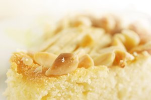 Closeup of an almonds pie