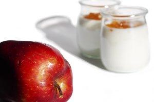 Red apple and natural yogurt