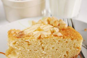 Slice of cake with almonds