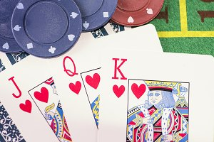 Cards with poker parts