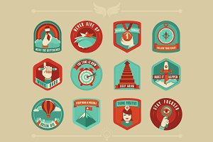 12 Motivational flat badges