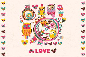 Set of greeting cards. Cute Owls!