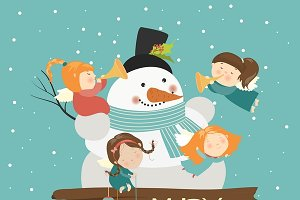 Big snowman with cute angels