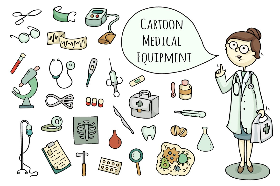 Cartoon doctor and medical equipment ~ Objects ~ Creative ...