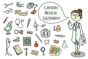 Cartoon doctor and medical equipment