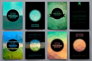 Tourism. Brochures in poli style.