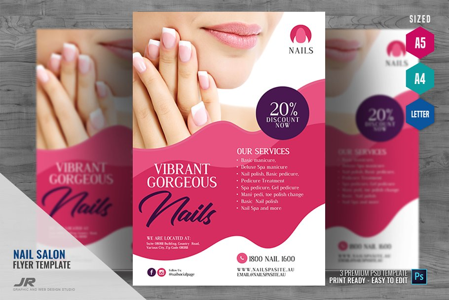 Nail Experts Salon and Spa Flyer ~ Flyer Templates ~ Creative Market