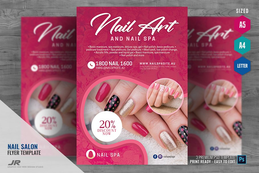 Excellent Nail Spa And Salon Flyer Flyer Templates Creative Market Home Interior And Landscaping Ologienasavecom