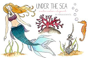 Watercolor Clip Art - Under the Sea