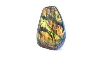 Colorful raw labradorite gemstone