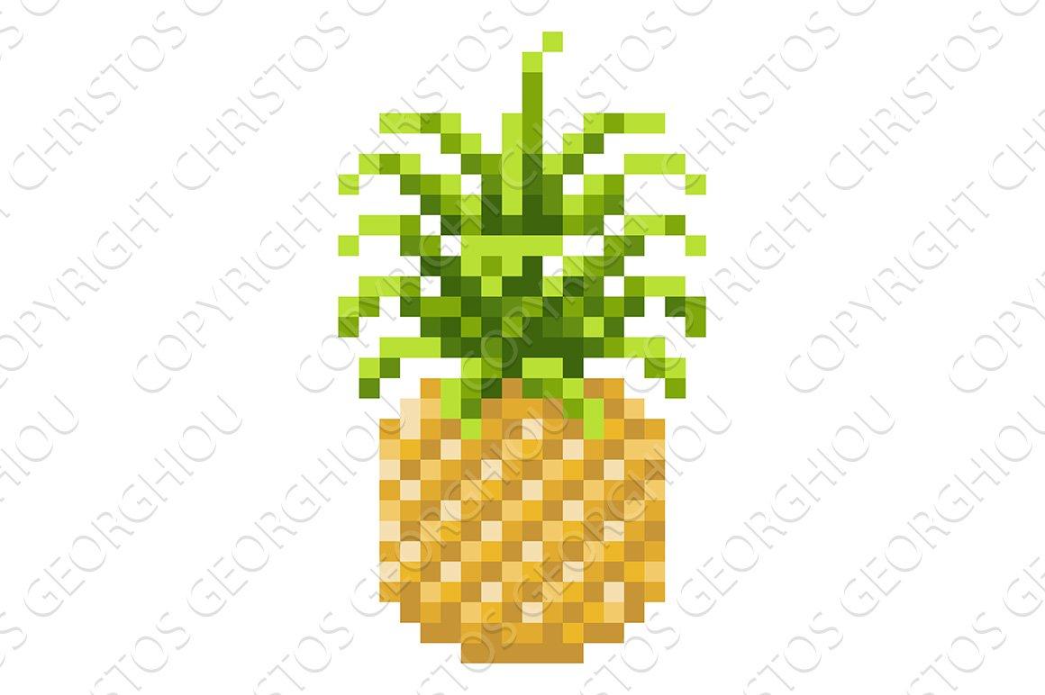 Pineapple Pixel Art 8 Bit Fruit Icon