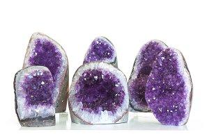Set of amethyst crystal