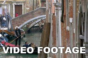 Gondolier Diverting a Gondola Boat