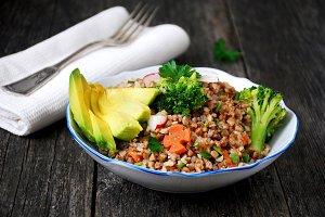 Vegetarian buckwheat salad