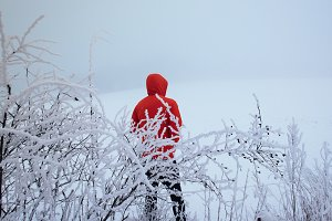 Man with red Jacket in the Snow