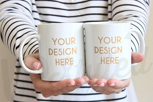 F165 Two White Coffee Mugs Mock Up