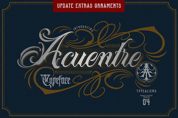 Acuentre (Update - Ornaments) in Script Fonts - product preview 7