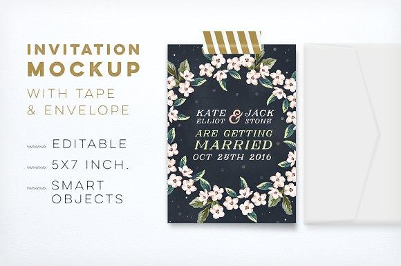 Invitation Mockup w/ Tape & Envelope