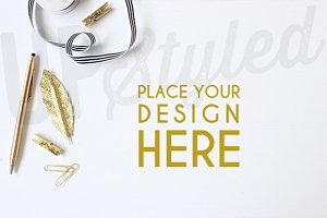 A128 Gold Desk Stock Photo Mock Up