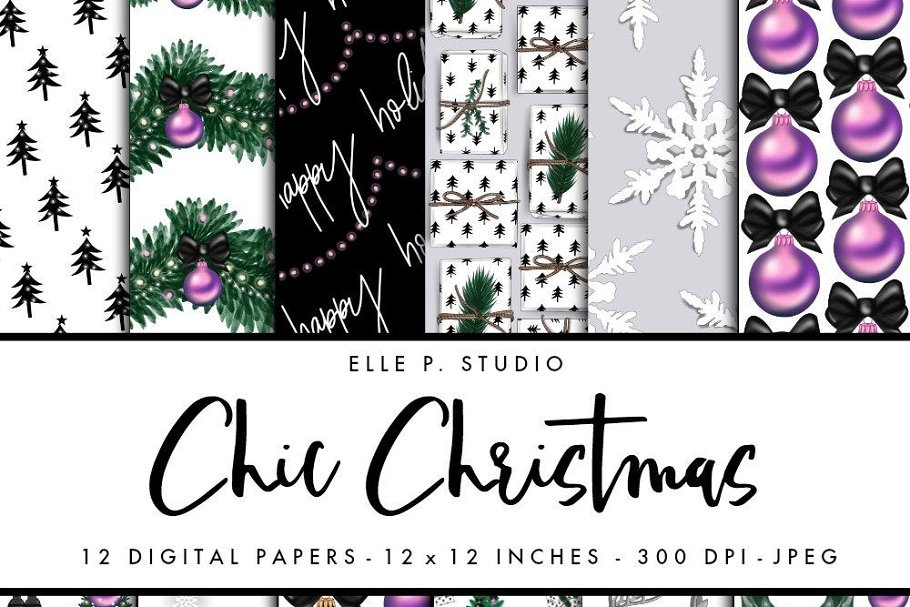 Chic Christmas Digital Paper Set
