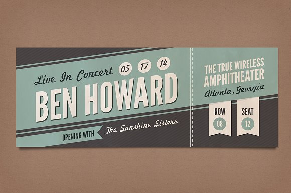 Retro Concert Tickets Stationery Templates on Creative Market – Sample Concert Ticket