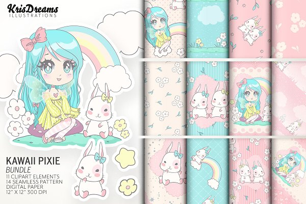 Kawaii Pixie Graphics Bundle