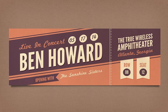 Retro Concert Tickets Stationery Templates on Creative Market – Sporting Event Ticket Template