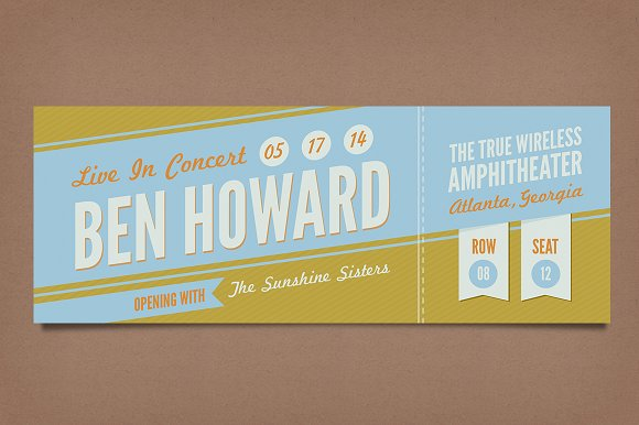 Retro Concert Tickets Stationery Templates on Creative Market – Concert Ticket Layout